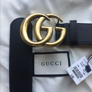 Accessories - Black smooth leather Gold buckle Gucci NWT